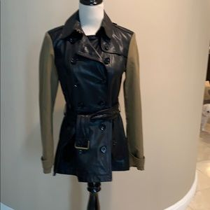 Burberry Brit NWT Leather/Cotton Short Trench 6
